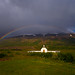 The church in Draflastaðir under a rainbow