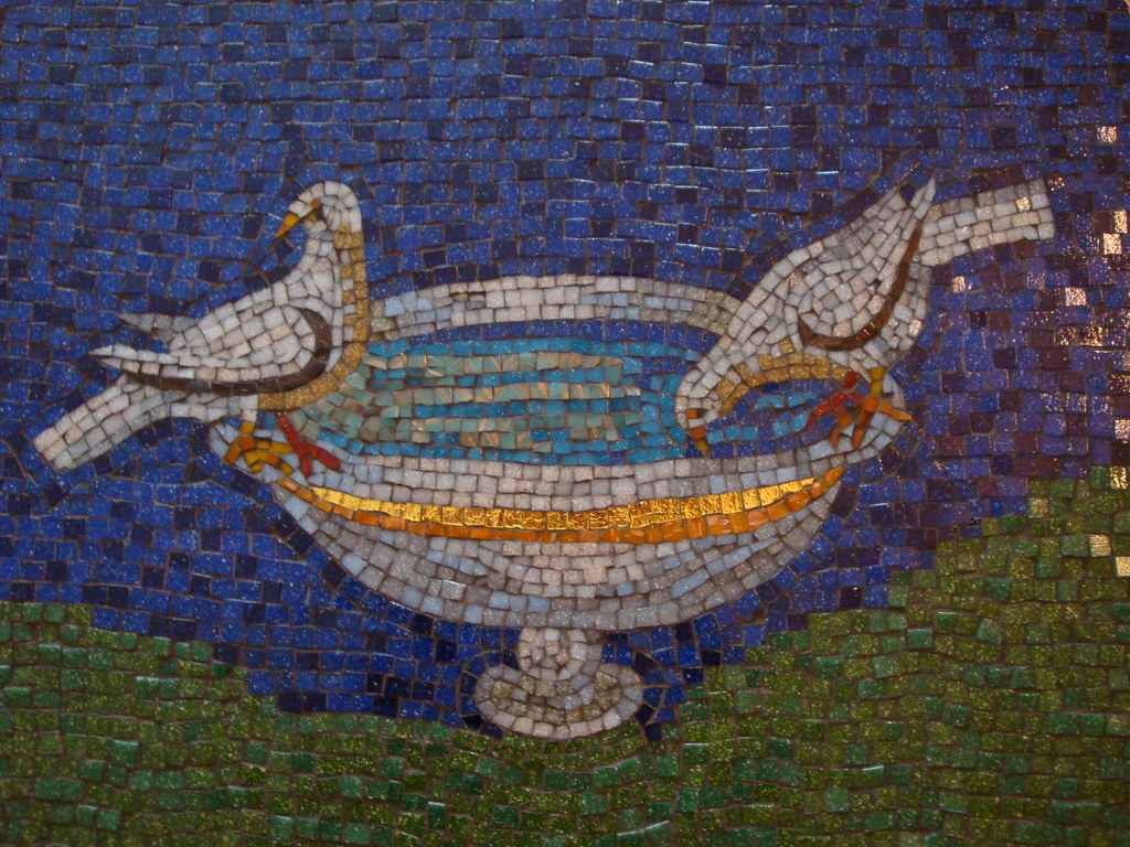RV Doves Mosaic Coffee Table WIP 19