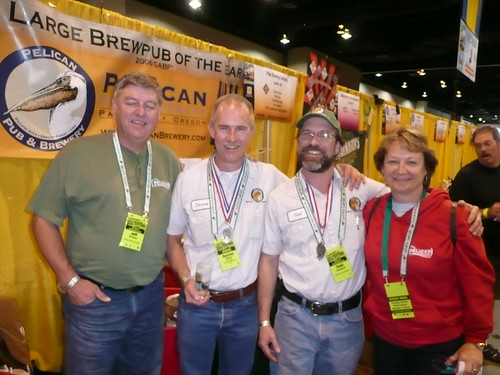 Darron Welch (2nd from Left) with the Pelican Brewpub Team