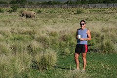 Deb drinking morning coffee in South Africa...and looking a little nervous