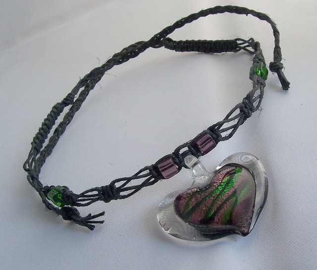 Hemp Jewelry-Black Hemp Necklace/Choker With Glass Pendant