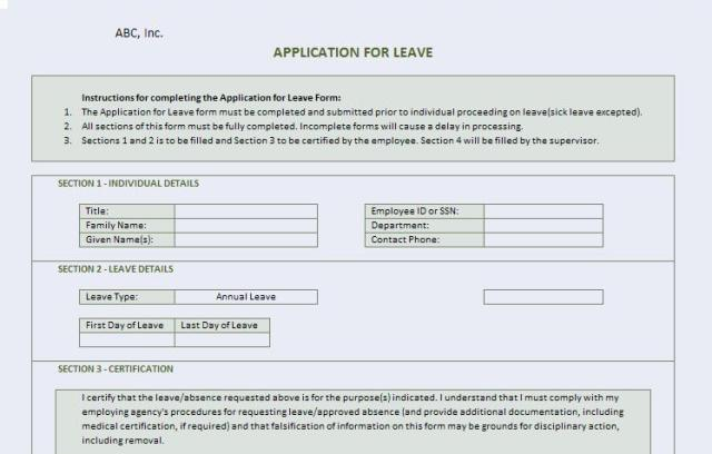 Leave application form template top leave application form template images for pinterest altavistaventures Image collections