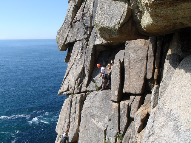 2009/05/23 - 15:31 - Climbing in Cornwall for its best!  Brian and Sarah at the P2 belay ledge of Doorpost, Bosigran, while Jon is seconding.