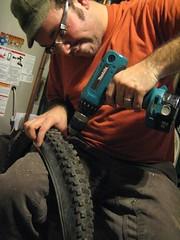 Predrilling the tire lugs