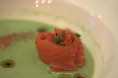 Salmon Poached in Green Tea with Green Tea Pesto
