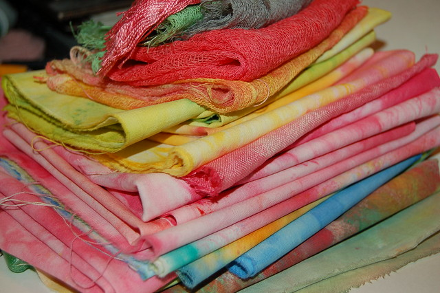 Fabric and cheese cloth from the rainbow...