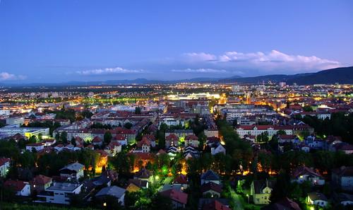 street houses night buildings lights long exposure cityscape view nightshot pyramid hill slovenia slovenija hdr maribor fromthe jpingjk