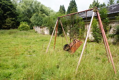 An unusual swing in the grounds of Harperbury Hospital, Hertfordshire.