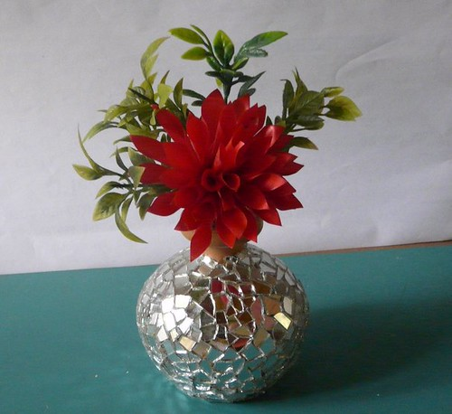 Mirror work Vase with ribbon flower