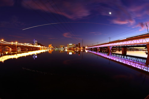 sunset arizona night wow spectacular amazing cool twilight nocturnal purple az commuter commuting lightrail tempetownlake tempearizona canonef15mmf28fisheye tempelakepark phoenixlightrail canon15mmf28fisheyelens canon5dmark2 canon5dmarkii canoneos5dmarkiicamera phoenixlightrailbridge
