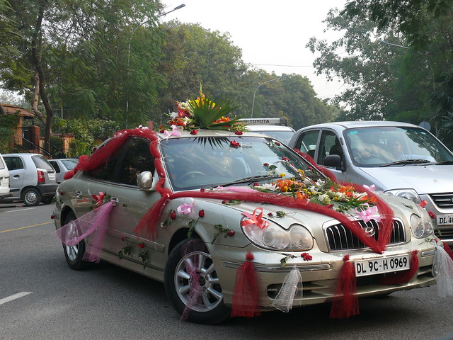 Indian Wedding car decorations Not quite the same as a decorated elephant