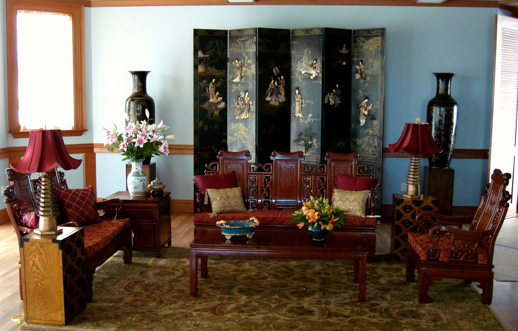 Korean, Chinese Living Room Interior Design Hawaii TV Set ...