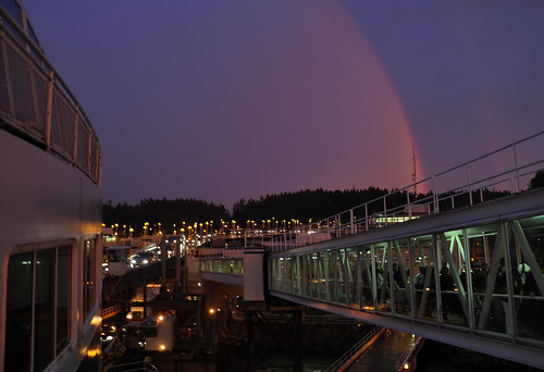 Double Sunset Rainbow & BC Ferry Spirit of British Columbia at Swartz Bay Terminal, Vancouver Island