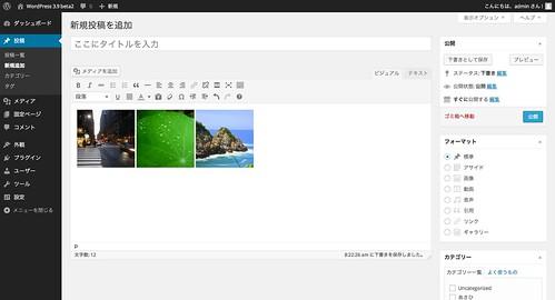WordPress 3.9 beta2 でのギャラリー追加(プレビュー)