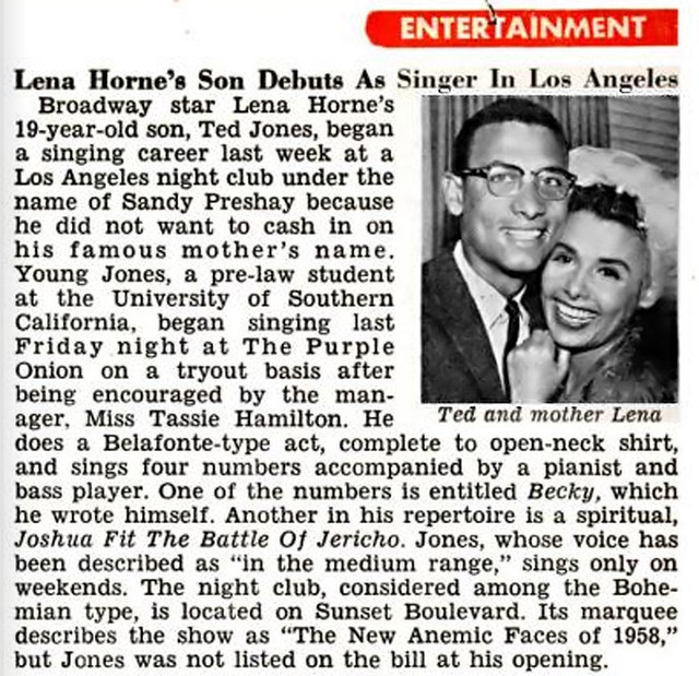 Lena Horne Daughter Lena Horne 39 s Son Ted Jones