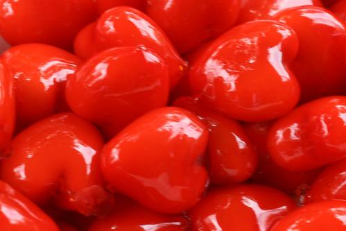 Bright red hearts in Bangkok