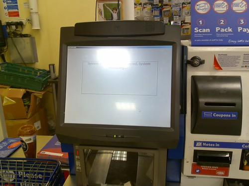 Crashed Tesco Express self-service checkout