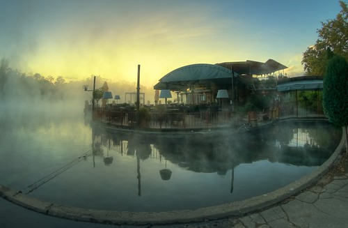 park lake reflection water fog sunrise restaurant hungary budapest fisheye myfavorites 8mm hdr peleng varosliget 400d