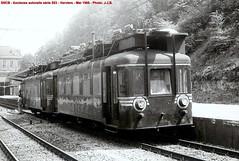 SNCB - anciens autorails 553 transformés pour travaux d'électrification - Verviers - 05/1966 - Photo: J.J.B.