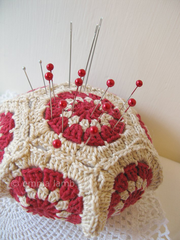 Miss Beryl, crochet pincushion - design by One Loop Short | Emma Lamb