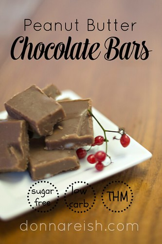 Sugar-Free Peanut Butter Chocolate Bars (THM S, Low Carb)