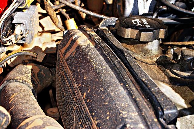 Muddy engine bay