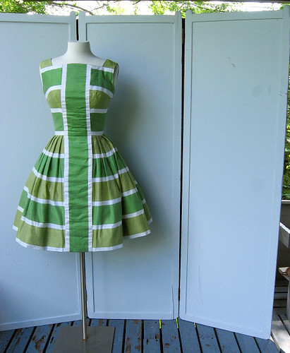 Grass green and celadon party dress