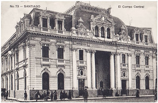 Image of Correo Central. chile santiago calle capital centro antigua urbana carta historia antiguo correo correspondencia santiaguino