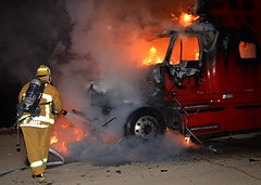 Semi Tractor Burns Alongside Foothill Freeway