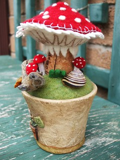 Champagne cork mushroom arrangement/pincushion!!