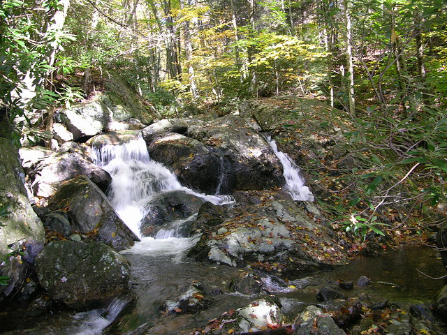 Beautiful waterfalls are outside at Grayson Highlands State Park