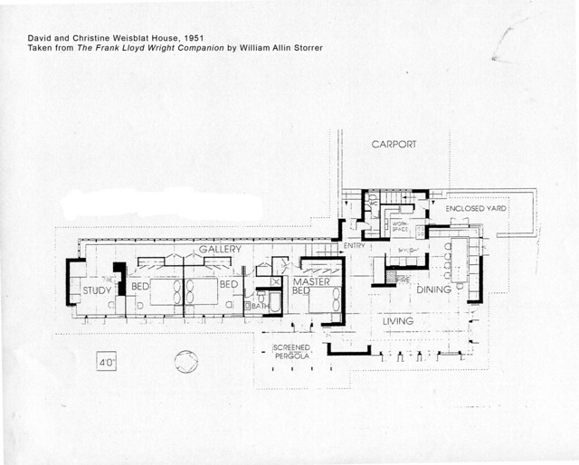 David and christine weisblat house plan 1951 frank lloy for Frank lloyd wright style house plans