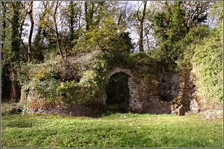 Image of Llangybi Castle. trees castle stone forest woods walls gwent llangybi llangybicastle tregruk