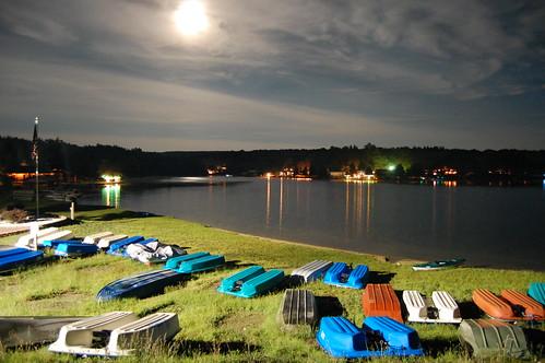moon water night clouds reflections boats moonlight bigbearlakewv