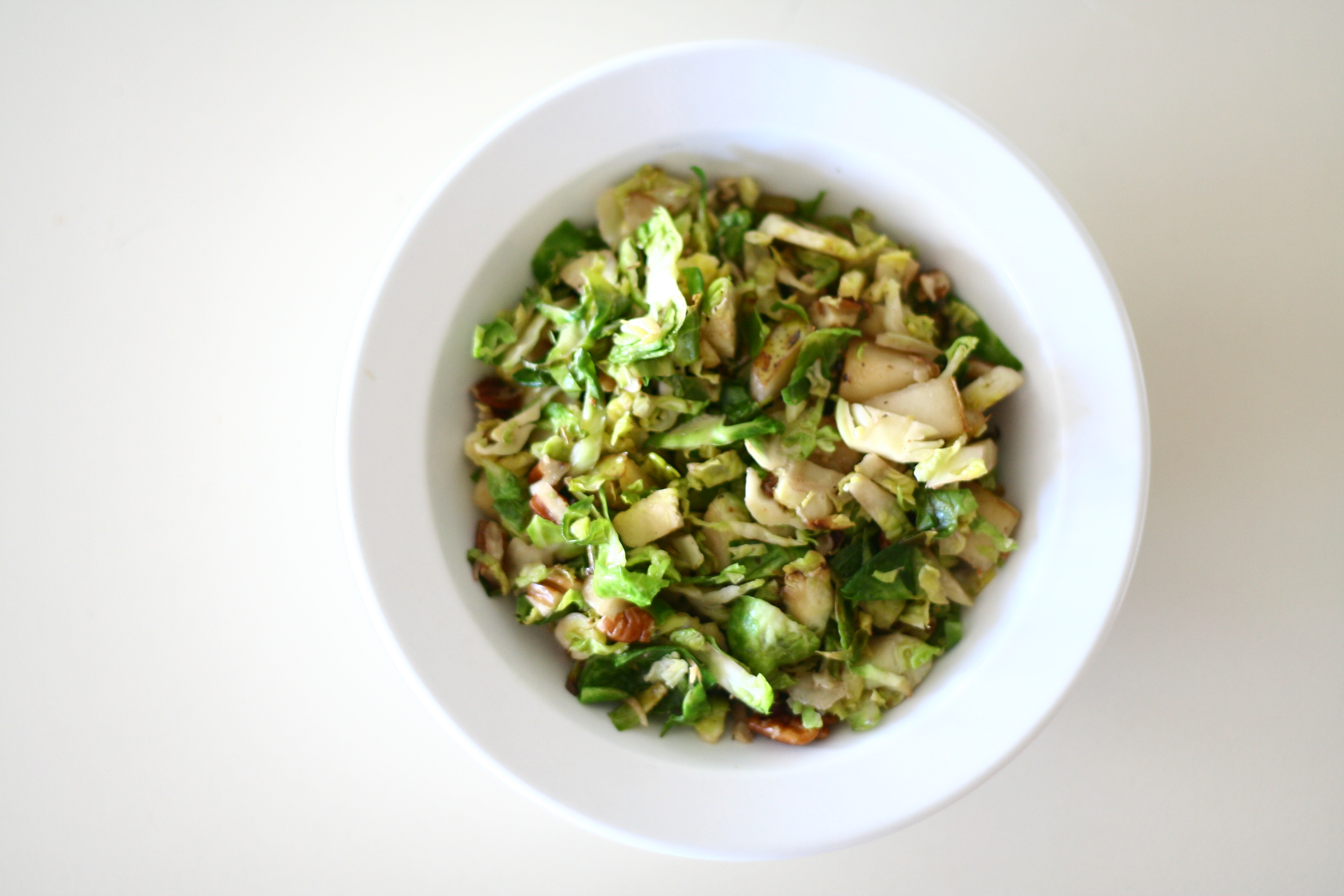 Shredded Brussels Sprouts with Pecans and Pear