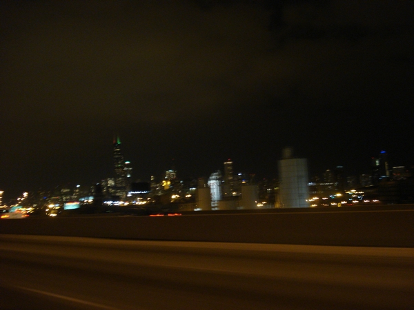 Driving into downtown Chicago