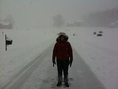 Kate poses in the snowy road