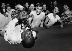 Big Jay McNeely driving crowd into frenzy, Olympic Auditorium, Los Angeles, 1953, by Bob Willoughby