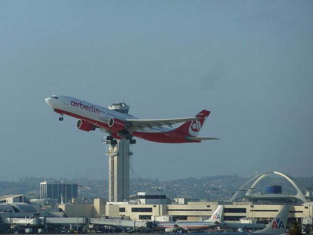 Air Berlin D-ALPF Airbus A330-223 jet takes off from LAX
