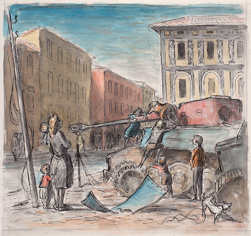 Children Playing on a Captured Enemy Tank in Forlì, 1945. Ink and wash on paper, courtesy Imperial War Museum, London.