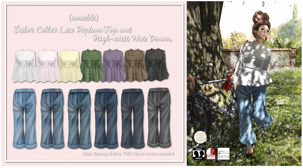 {amiable}Sailor Collar Lace Peplum Top&H-waist Wide Denim@N°21 (50%OFF SALE). - SecondLifeHub.com