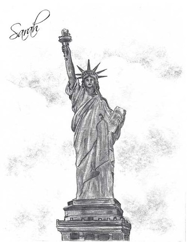 my drawing of the statue of  liberty