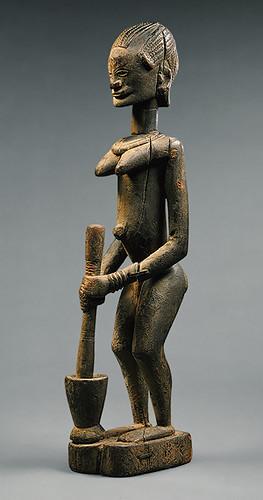 Mali Dogon Standing Figure With Mortar And Pestle Metro