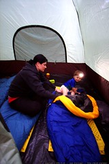 rachel puts sequoia to bed in a tent and sleeping ba…