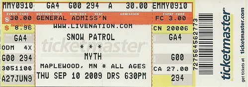 09/10/09 Snow Patrol @ Myth, Maplewood, MN (Ticket)