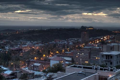city sunset sky cloud night dark 50mm asia moody cityscape cloudy dusk armenia yerevan hdr highdynamicrange hdri tsitsernakaberd baghramyan regionwide