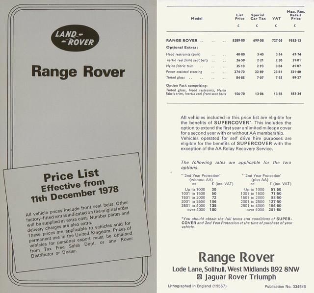 1978 Range Rover Price List