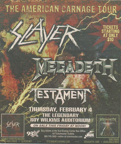 02/04/10 Slayer/Megadeth/Testament @ St. Paul, MN (Ad /W/ Original Date - Show Postponed until 08/21/10)