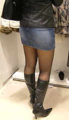 denim, jeans, textile, footwear, clothing, shoe, leather, limb, leg, fashion, skirt, thigh, miniskirt, boot,