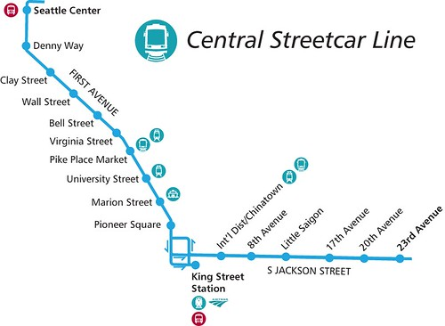 Seattle Central Streetcar Map  AKA The First Avenue